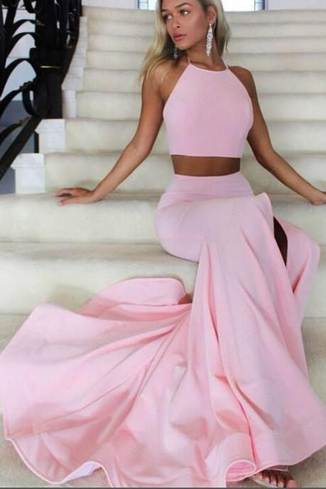 Two Piece Pink Halter Prom Dress Jersey Simple Slit Pageant Dress