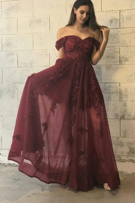 Long Burgundy Off Shoulder Prom Dress with Appliques