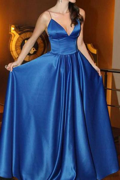 V neck Royal Blue Saghetti Strap Prom Dresses