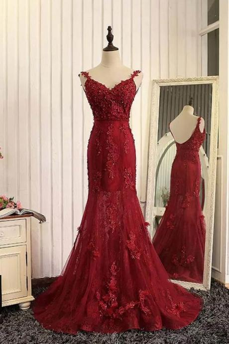 Sweetheart Red Applique Prom Dress with Open Back