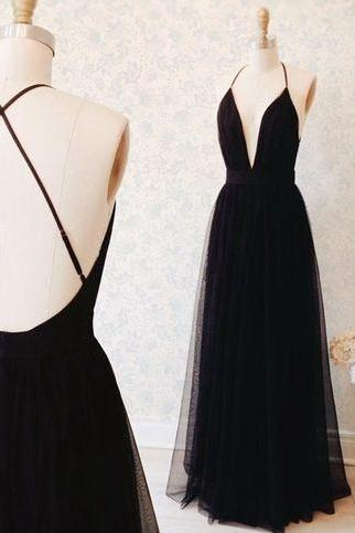 Simple Black Spaghetti Straps Prom Gown