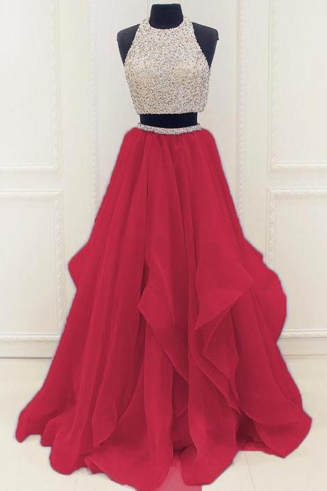 Elegant Red Sequins Organza Ruffles Prom Dress with Beaded Top Tulle Skirt