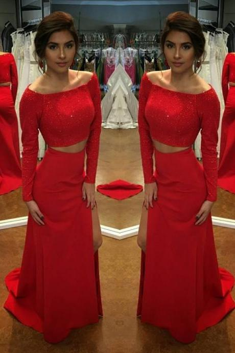 Elegant Red Long Sleeve Prom Dresses, Two Pieces Sequins Elegant Dresses