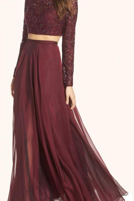 Burgundy Two Piece Pageant Dress, Lace Long Sleeve Prom Gown Dresses