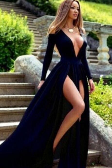 Royal Blue Pageant Dress, Long Sleeve Split Prom Dresses