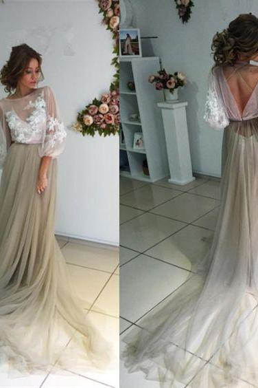Long Sleeve Applique Prom Dress Elegant Pageant Dress