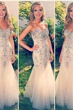 Prom Dresses, Long Champagne Mermaid Prom Dresses