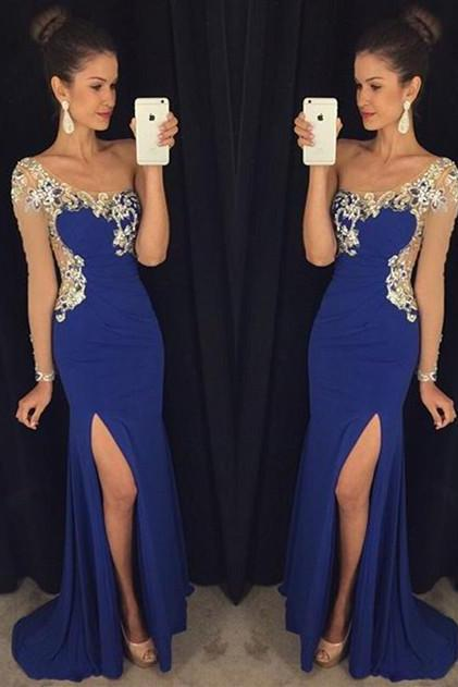Elegant One Shoulder Prom Dress,Blue Long Sleeve Sheath Eveining Dresses