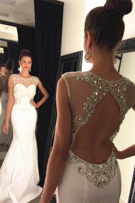 Gorgeous Halter Prom Dress,Mermaid Open Back Evening Dress