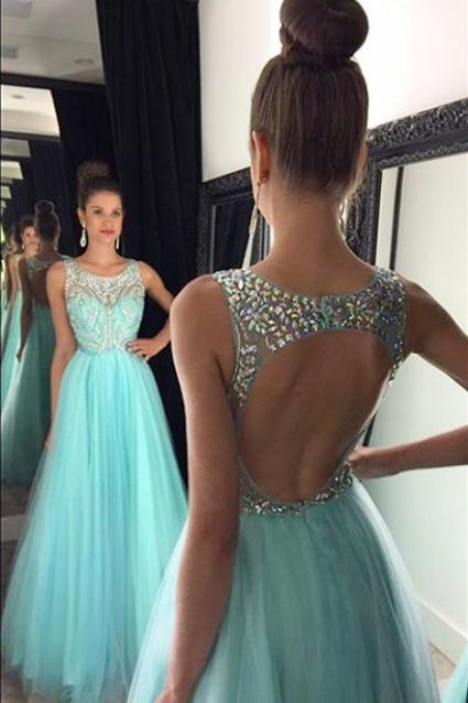 Crystal Halter Prom Dresses,Chiffon Long Evening Dressest,Blue Beading Backless Dress