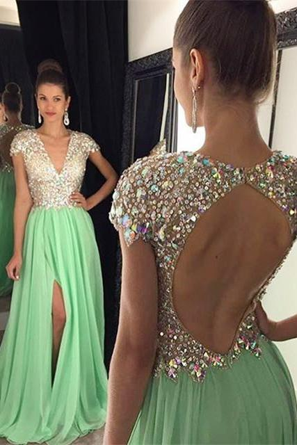 Deep V-Neck Prom Dress,Sequins Backless Evening Dress,A-Line Short Sleeve Split Dress