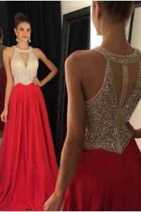 A-Line Beading Prom Dress,Red Chiffon Evening Dresses,Halter Long Dress