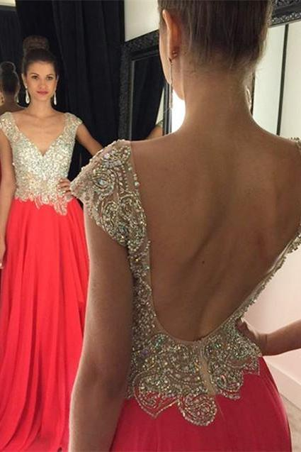 Plunging Neck Prom Dress,Backless Evening Dresses,Short Sleeve Beading Dress