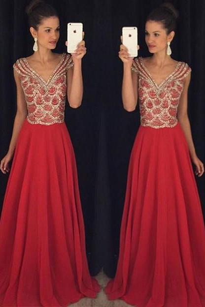 V-Neck Chiffon Prom Dress with Crystals,Latest A-Line Red Evening Dresses,