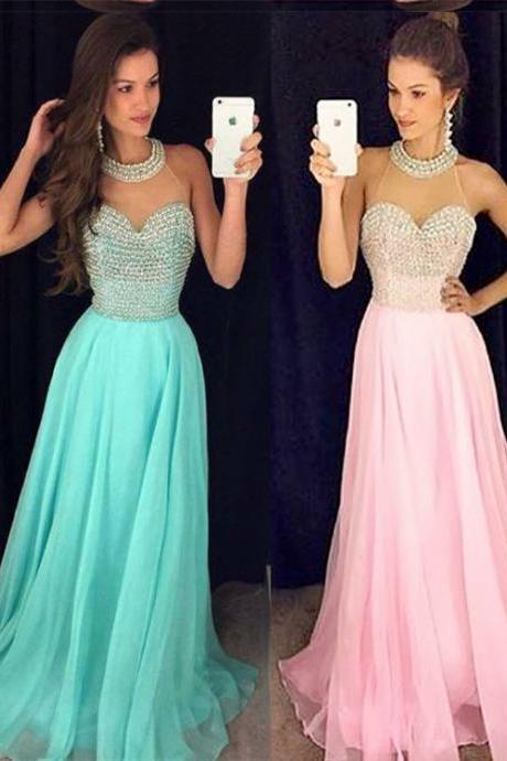 A-line Halter Prom Dresses,Chiffon Evening Dress With Beading ,A-line Open Back Dress