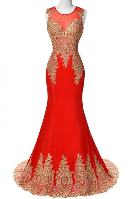 Red Long Satin Prom Dress,Mermaid Elegant Evening Dresses,Gold Beaded Dress
