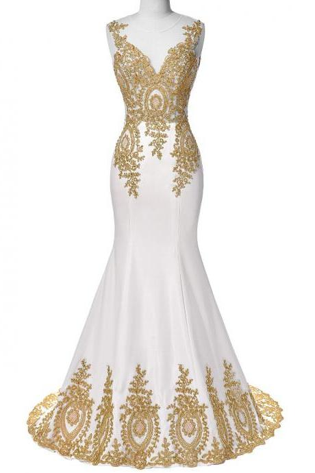 White Long Satin Prom Dress,Mermaid Elegant Evening Dresses,Gold Beaded Dress