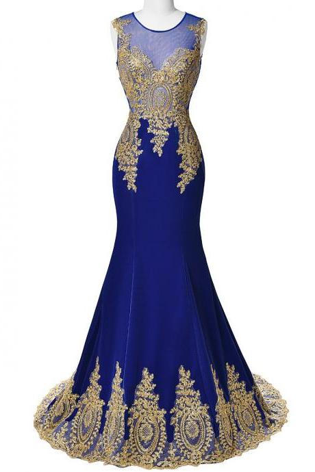 Royal Blue Long Satin Prom Dress,Mermaid Elegant Evening Dresses,Gold Beaded Dress