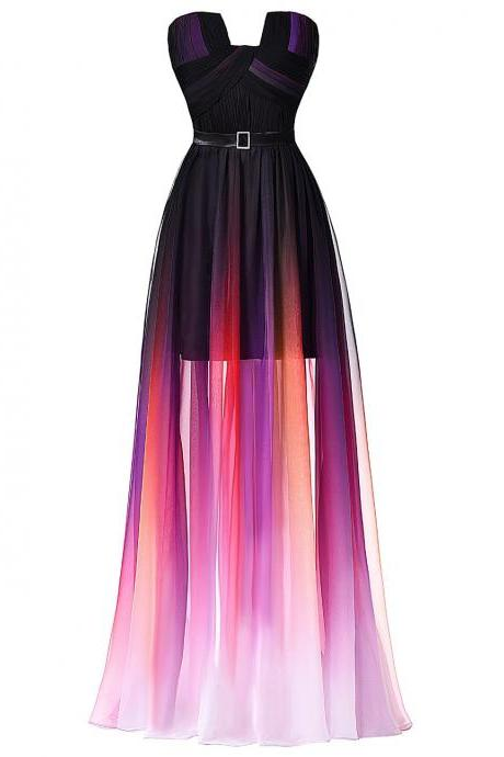 Ombre Long Prom Dresses,Strapless Chiffon Evening Dresses with Pleats