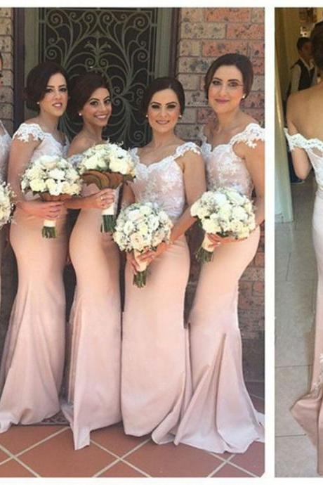Blush Long Prom Dress,Mermaid Bridesmaid Dresses,Lace Stain Pleated Back Evening Dress