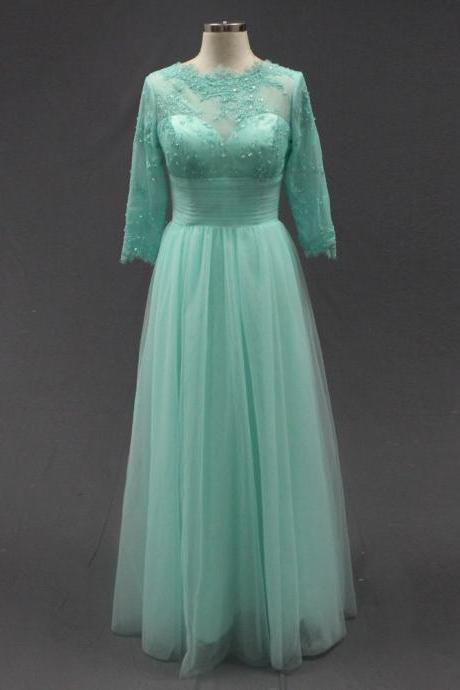 A-Line Tulle Prom Dress,Lace Floor-Length Evening Dress,Mint Green Long Dress