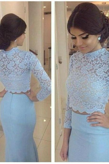 O Neckline Prom Dress, Mermaid Two Pieces Evening Dresses, Light Blue Lace Long Sleeves Dress
