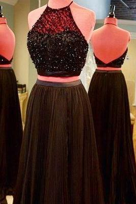 Halter Black Prom Dresses,Two Piece Beaded Prom Dress