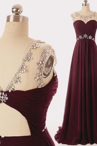 Maroon Sleeveless Crystal Beaded A-Line Prom Dresses
