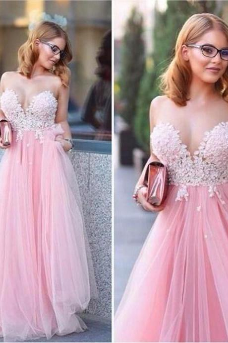Sweetheart Sexy Strapless Chiffon Pink Long Prom Dresses