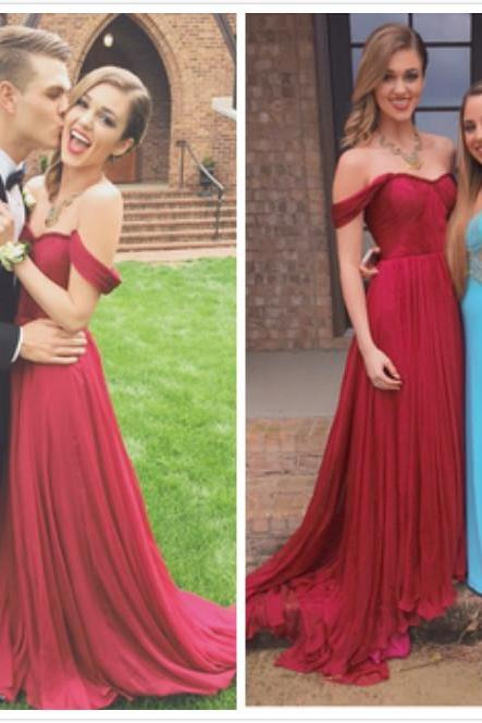 Red Sweetheart Prom Dresses,Off Shoulder Prom Dress,Evening Dress