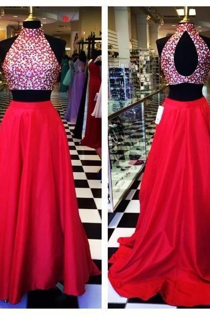 Hot Pink Crystals Prom Dresses,A-Line Prom Dress,Evening Dress