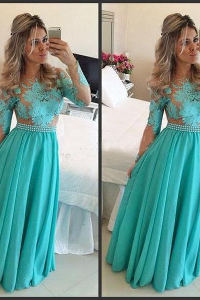 Beaded Belt Prom Dresses,Turquoise Long Sleeveless Prom Dress