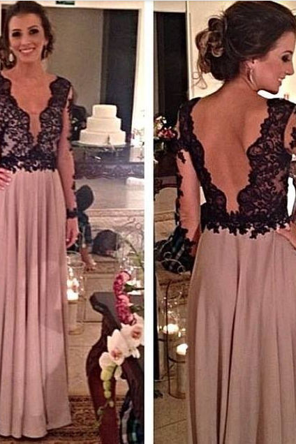 Deep V Long Sleeve Prom Dresses,Sleeveless Prom Dress