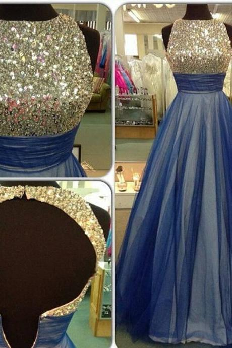 Sequins Sleeveless Prom Dresses,A-Line Tulle Prom Dress