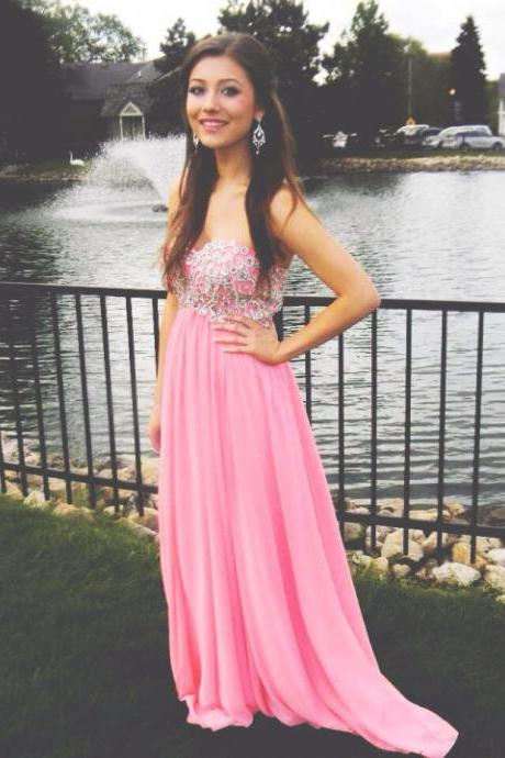 Sweetheart Pink Prom Dresses,A-Line Prom Dress,Evening Dresses