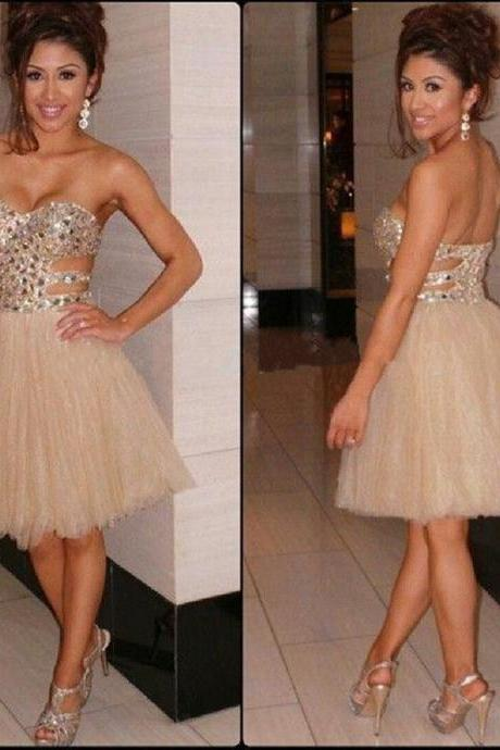Sweetheart Short Prom Dresses,Mini Chiffon Homecoming Dress