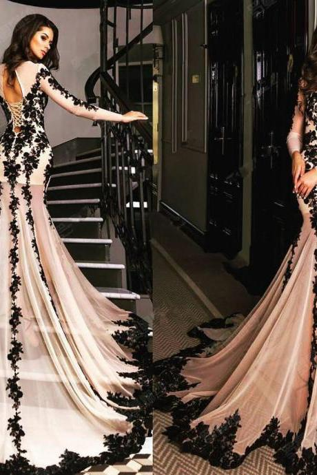 Lace Up Long Sleeve Sheer Floor Length Prom Dress/Evening Dress/Formal Dress LMN1020