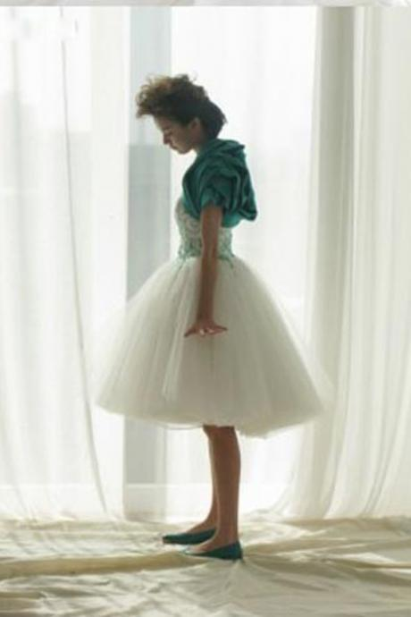 White Chiffon Tulle Knee Length Short Prom Dress/Homecoming Dress MGY1005