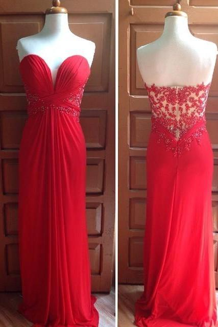 Sweetheart Simple Red Chiffon Beaded Zipper Up Prom Dress/Evening Dress MDN1005