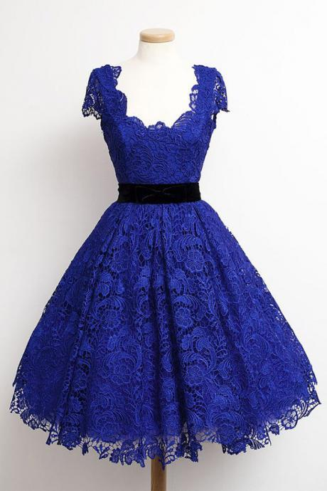 Short Sleeve Lace Homecoming Dress,Royal Blue Homecoming Dresses
