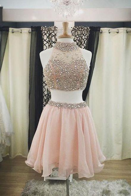 Sparkle Homecoming Dress,Two Piece Homecoming Dresses