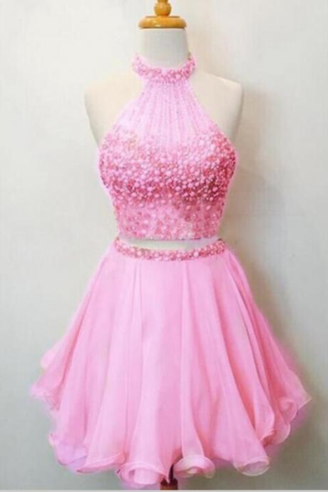 Short Mini Pink Homecoming Dress,Halter Short Homecoming Dresses