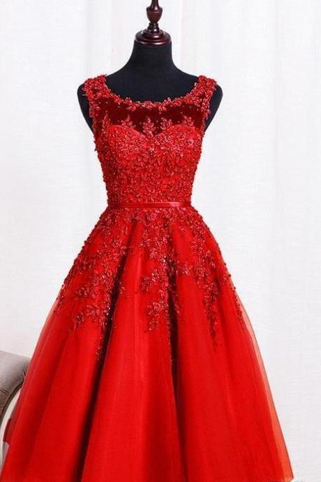 Knee Length Homecoming Dress,Applique Red Homecoming Dresses