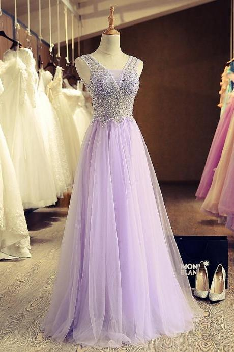 Lovely Lavender Sleeveless A-Line Beading Bandage Tulle Prom Dress/Evening Dress LWS1005