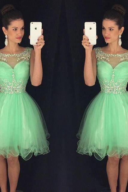 Sleevless Green Homecoming Dress,Organza Short Homecoming Dresses