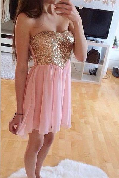 Gold Sequin Homecoming Dress,Pink Short Homecoming Dresses