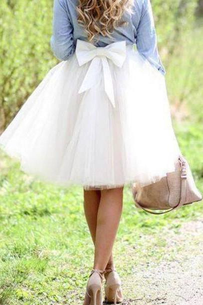 Bowknot White Skirt,Knee Length Tulle Skirt
