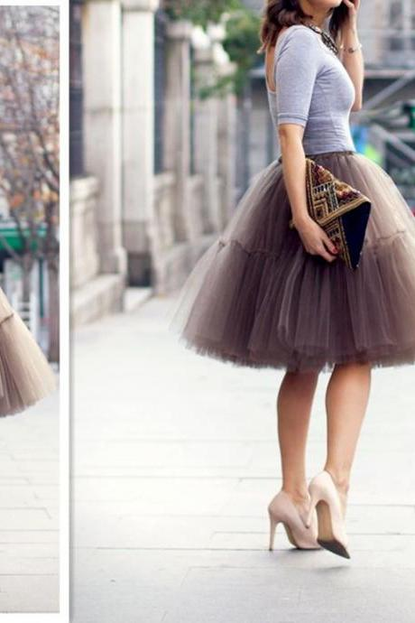 A-Line Skirt,Knee Length Tulle Skirt
