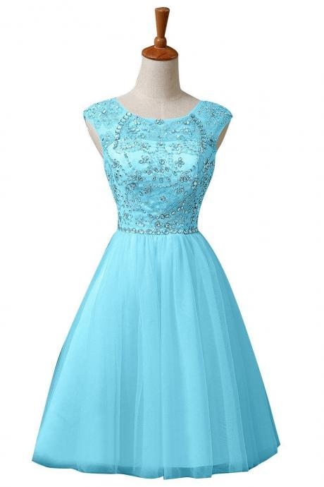 Short Tulle Homecoming Dress,Sequin Beaded Homecoming Dresses