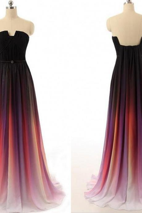 Strapless Chiffon Prom Dress,A-Line Prom Dress,Evening Dress